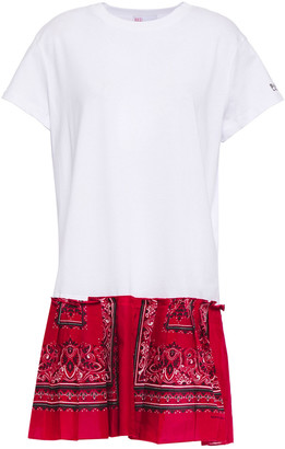 RED Valentino Pleated Printed Cotton-poplin And Jersey Mini Dress