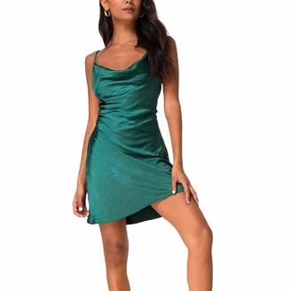 baybay Women 's Sexy Spaghetti Strap Dress Bodycon Cowl Neck Sleeveless Bodycon Mini Party Dresses Blue