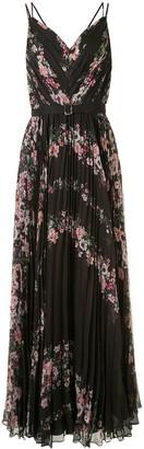 Marchesa Notte Floral-Print Pleated Long Dress
