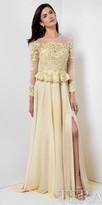 Terani Couture Sheer Floral Applique Rhinestone Chiffon A-line Evening Dress