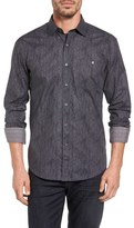 Bugatchi Bugtachi Shaped Fit Heathered Print Sport Shirt