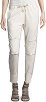 Brunello Cucinelli Drawstring Monili-Trim Jogger Pants, Ivory