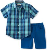 Kids Headquarters Blue Plaid Button-Up & Blue Shorts - Toddler & Boys