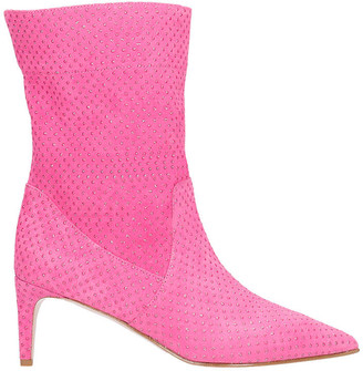RED Valentino High Heels Ankle Boots In Fuxia Suede