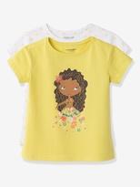 Vertbaudet Pack of 2 Girls Short-Sleeved T-shirts