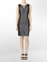 Calvin Klein Hardware Accent + Exposed Back Zip Sleeveless Dress