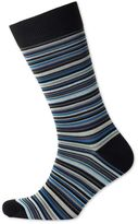 Charles Tyrwhitt Black Multi Fine Stripe Socks Size Medium