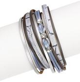Saachi Grey Striking Crystal Detail Genuine Leather Wrap Bracelet