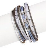 Saachi Grey Striking Genuine Leather Wrap Bracelet