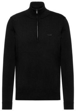 HUGO BOSS Quarter-zip logo sweater in cotton
