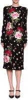 Dolce & Gabbana Long-Sleeve Rose-Embroidered Charmeuse Sheath Dress, Black