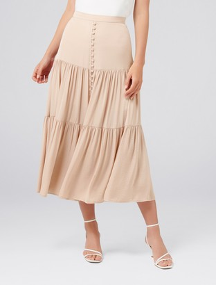 Forever New Lilly Petite Tiered Maxi Skirt - Blush - 4