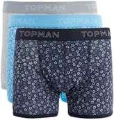Topman Blue Floral Print Trunks 3 Pack