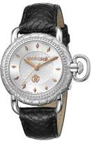 Roberto Cavalli Womens Black Leather Strap Watch With Silver Dial.