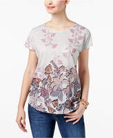 Style&Co. Style & Co Style & Co Petite Dolman-Sleeve Printed T-Shirt, Created for Macy's