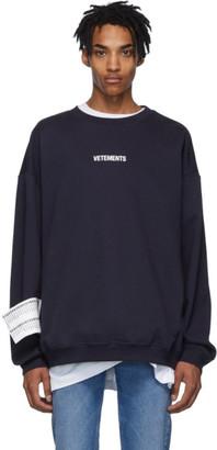 Vetements Navy Logo Sweatshirt