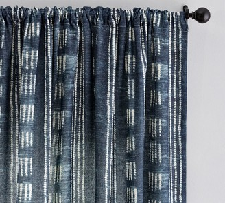 Pottery Barn Shibori Dot Linen/Cotton Rod Pocket Curtain