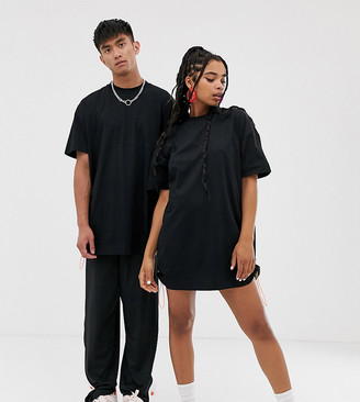 Collusion COLLUSION Unisex t-shirt dress with side bungee in black