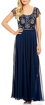 J Kara Floral Beaded Chiffon A-Line Gown