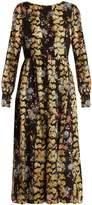 Saloni Camille floral-print and jacquard dress