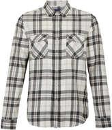 Topman Monochrome Check Long Sleeve Flannel Shirt