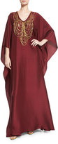 Badgley Mischka Necklace-Beaded V-Neck Caftan Gown, Bordeaux