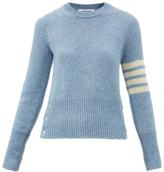 Thom Browne Four Bar Buttoned Wool Sweater - Mid Blue