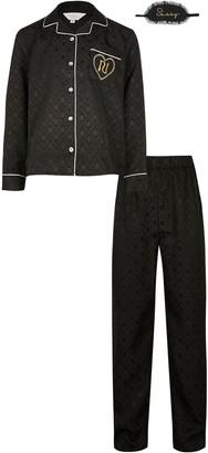River Island Girls Black 'RI' satin jacquard boxed pyjamas