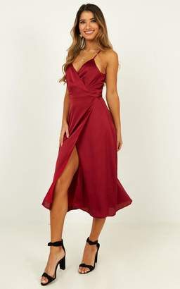Showpo Heart Throbbing Dress in wine satin - 4 (XXS) Dresses