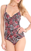 Naturana Black & Red Floral Cutout One-Piece