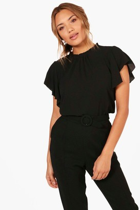 boohoo Woven Frill Sleeve & Neck Blouse