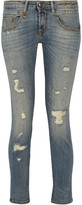 R 13 Boy Distressed Mid-rise Skinny Jeans - Mid denim