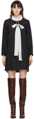Chloé Black Silk Ruffle Collar Dress