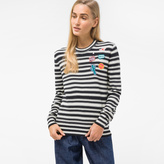 Paul Smith Women's Striped Cotton Sweater With Embroidered Patches