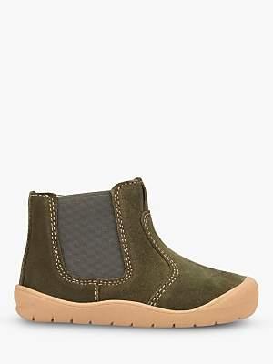Start Rite Start-rite Children's Leather Suede First Chelsea Boots, Khaki