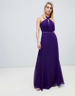 Little Mistress strappy pleated bust maxi dress in purple