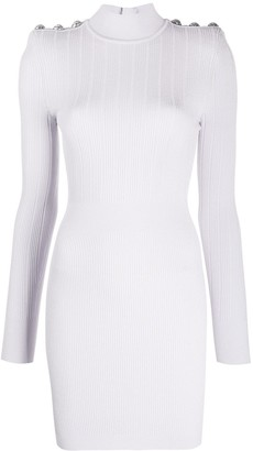 Balmain Embossed-Buttons Ribbed-Knit Dress