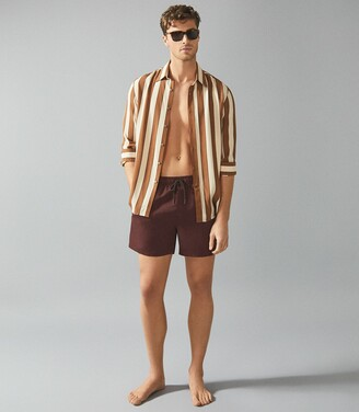 Reiss Sonar - Drawstring Swim Shorts in Bordeaux