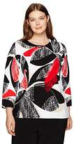 Alfred Dunner Women's Texure Floral Sweater 3/4 Slv