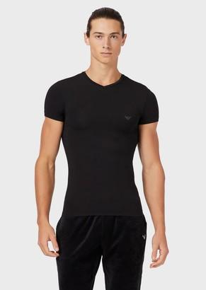 Emporio Armani V-Neck T-Shirt In Soft Modal