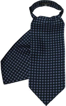 Forzieri Deep Blue Floral Printed Twill Silk Ascot Tie
