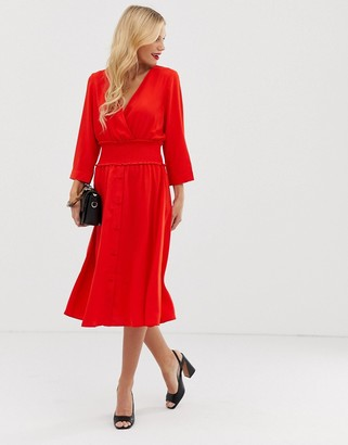 Y.A.S v neck midi dress with elasticated waist-Red