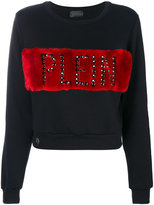 Philipp Plein faux fur panel branded sweatshirt