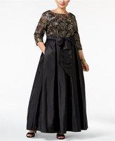 Alex Evenings Plus Size Sequined Floral Lace Gown