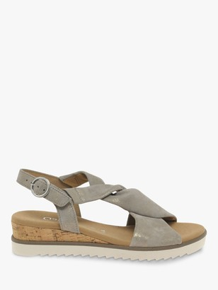Gabor Rich Wide Fit Leather Wedge Heel Sandals, Metallic