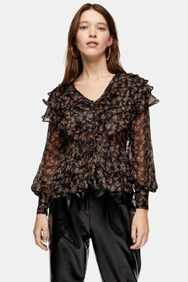 Topshop Womens Floral Glitter Ruffle Blouse - Black