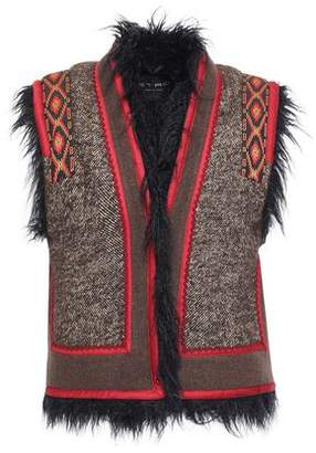 Etro Faux Shearling-lined Appliqued Tweed And Felt Vest