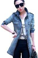 Splendid-Dream jean jacket Splendid-Dream Women's Long-sleeved casual joker trench coat Jean jacket (L)