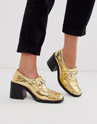 Asos Design DESIGN Security chunky mid-heeled loafers in gold croc