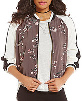 Jolt Long-Sleeve Color Block Floral Bomber Jacket